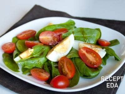 салат со шпинатом рецепт и помидорами