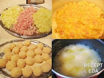шарики из картофельного пюре с ветчиной и сыром