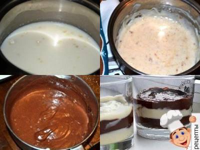 шоколадно ванильный пудинг рецепт, пудинг с какао