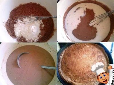 торт из шоколадных блинов с заварным кремом