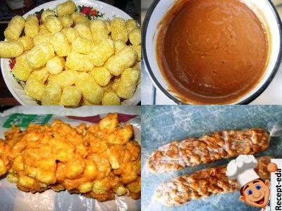 сладкая колбаскаиз вареной сгущенки, пирожное из кукурузных палочек