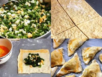 как сделать слоеные пирожки зеленым луком
