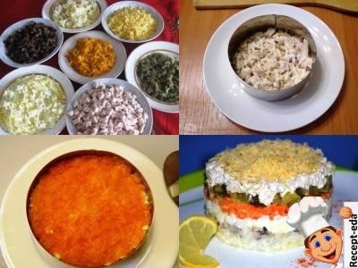 слоеный салат с говядиной и грибами