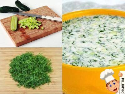 холодный суп из йогурта и огурцов