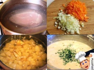 как приготовить суп из картошки, сыра и курицы