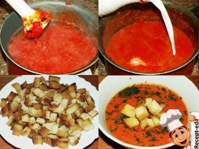 суп пюре из томатов и сливок
