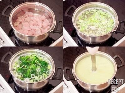 суп пюре с брокколи и курицей
