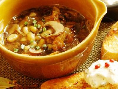 Суп с шампиньонами и фасолью, рецепт