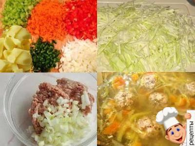 овощной суп с фрикадельками и капустой, и овощами, рецепт