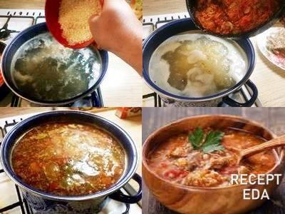 суп харчо из курицы с рисом и картошкой