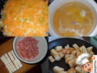 как приготовить суп сырный из плавленного сыра с колбасой