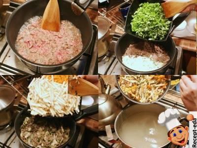 сырный суп с грибами и мясом