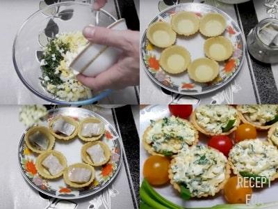 тарталетки с селедкой и сыром