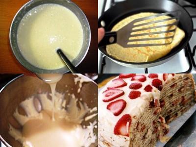 торт из блинов с творогом, сметанным кремом и ягодами свежей клубники