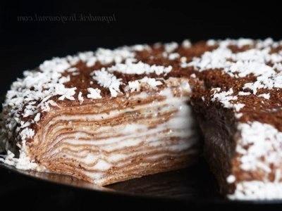 шоколадный блинный торт с заварным кремом