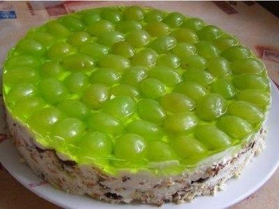 Торт из печенья с фруктами, желе без выпечки
