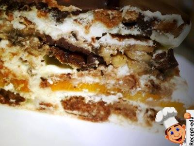 Торт из пряников с фруктами и сметаной