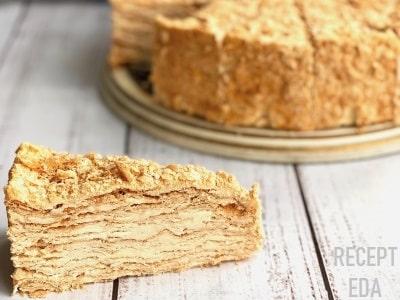 торт наполеон на сковороде с заварным кремом
