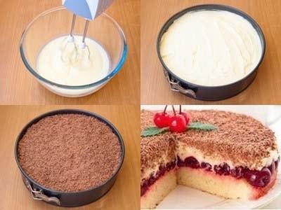 на десерт торт с маскарпонеи вишней