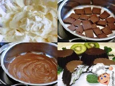 шоколадно творожный десерт с киви