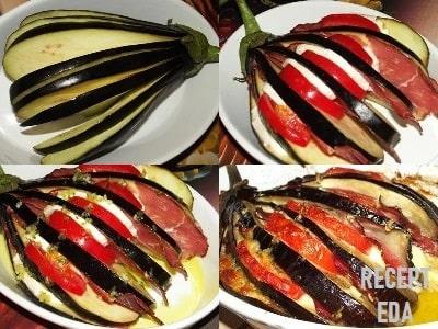 веер из баклажанов в духовке с беконом и помидорами