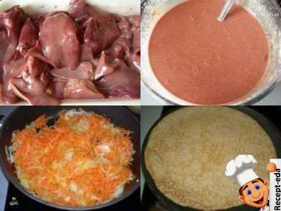 печеночный торт с морковью и луком