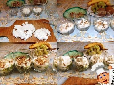 вкусный десерт из зефира со сметаной и фруктами