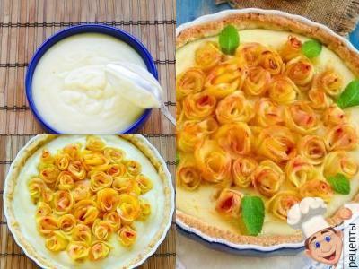 украшение пирога розами из яблок