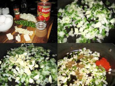 яичницас луком и томатной пастой