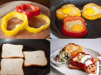 яичница в перце на сковороде, яичница в болгарском перце