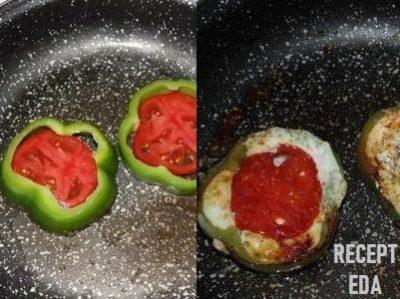 яичница в перце с помидором