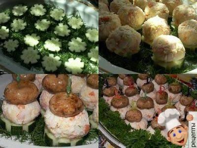 грибная поляна - закуска на шпажках к праздничному столу
