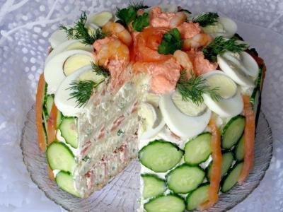 рецепт закусочного торта, соленыйторт из хлеба