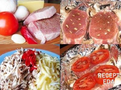 запечь свинину с шампиньонами в духовке