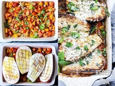 запеченные баклажаны с помидорами и чесноком в духовке