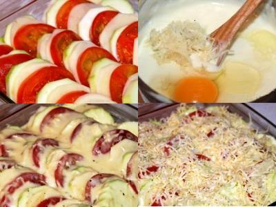 запеченный картофель с кабачком и помидорами