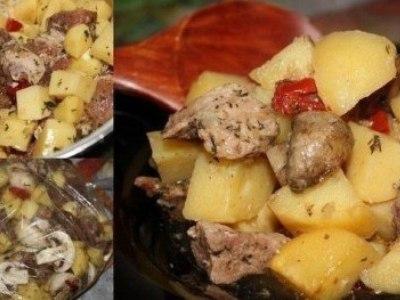 Запекаем мясо с картофелем в рукаве в духовке