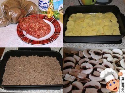 простая картофельная запеканка с фаршем, рецепт