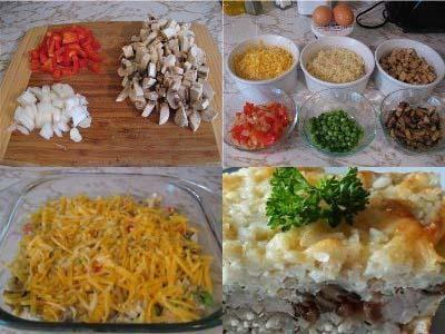 рисовая запеканка с курицей, куриная запеканка с рисом