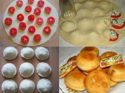 жареные пирожки бомбочки с помидорами
